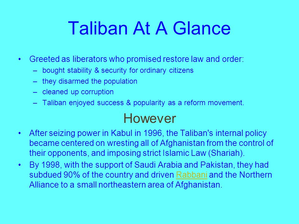 The Rise to Power (1994) Groups of Taliban were loosely organized on a regional basis during the occupation and civil war. 1994, a group of well- trai