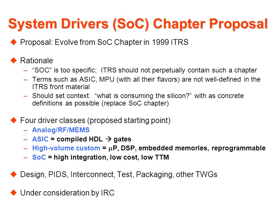 System Drivers (SoC) Chapter Proposal uProposal: Evolve from SoC Chapter in 1999 ITRS uRationale –SOC is too specific; ITRS should not perpetually contain such a chapter –Terms such as ASIC, MPU (with all their flavors) are not well-defined in the ITRS front material –Should set context: what is consuming the silicon.