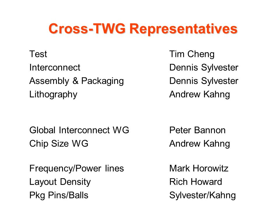 Cross-TWG Representatives TestTim Cheng InterconnectDennis Sylvester Assembly & PackagingDennis Sylvester LithographyAndrew Kahng Global Interconnect WGPeter Bannon Chip Size WGAndrew Kahng Frequency/Power linesMark Horowitz Layout DensityRich Howard Pkg Pins/BallsSylvester/Kahng