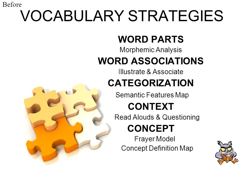 VOCABULARY STRATEGIES WORD PARTS Morphemic Analysis WORD ASSOCIATIONS Illustrate & Associate CATEGORIZATION Semantic Features Map CONTEXT Read Alouds
