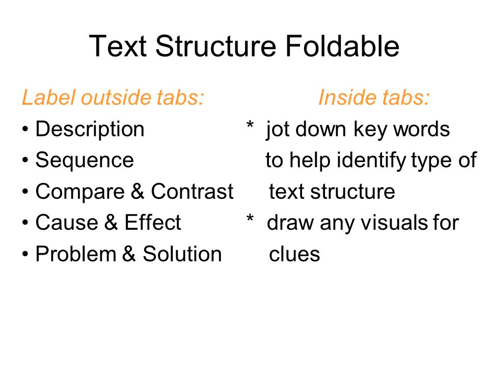 Label outside tabs: Inside tabs: Description * jot down key words Sequence to help identify type of Compare & Contrast text structure Cause & Effect *