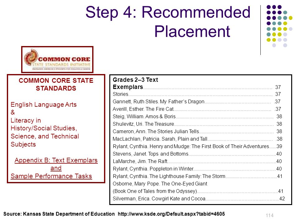 Step 4: Recommended Placement 114 Grades 2–3 Text Exemplars...........................................................................................