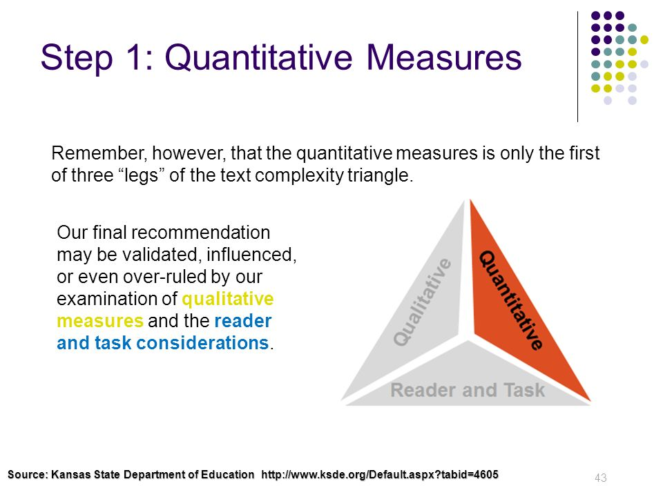 Step 1: Quantitative Measures 43 Remember, however, that the quantitative measures is only the first of three legs of the text complexity triangle. Ou