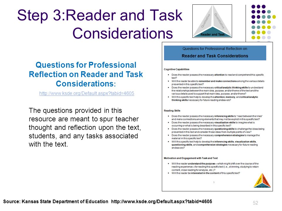 Step 3:Reader and Task Considerations 52 Questions for Professional Reflection on Reader and Task Considerations : http://www.ksde.org/Default.aspx?ta