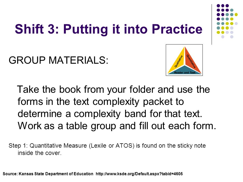 Shift 3: Putting it into Practice GROUP MATERIALS: Take the book from your folder and use the forms in the text complexity packet to determine a compl