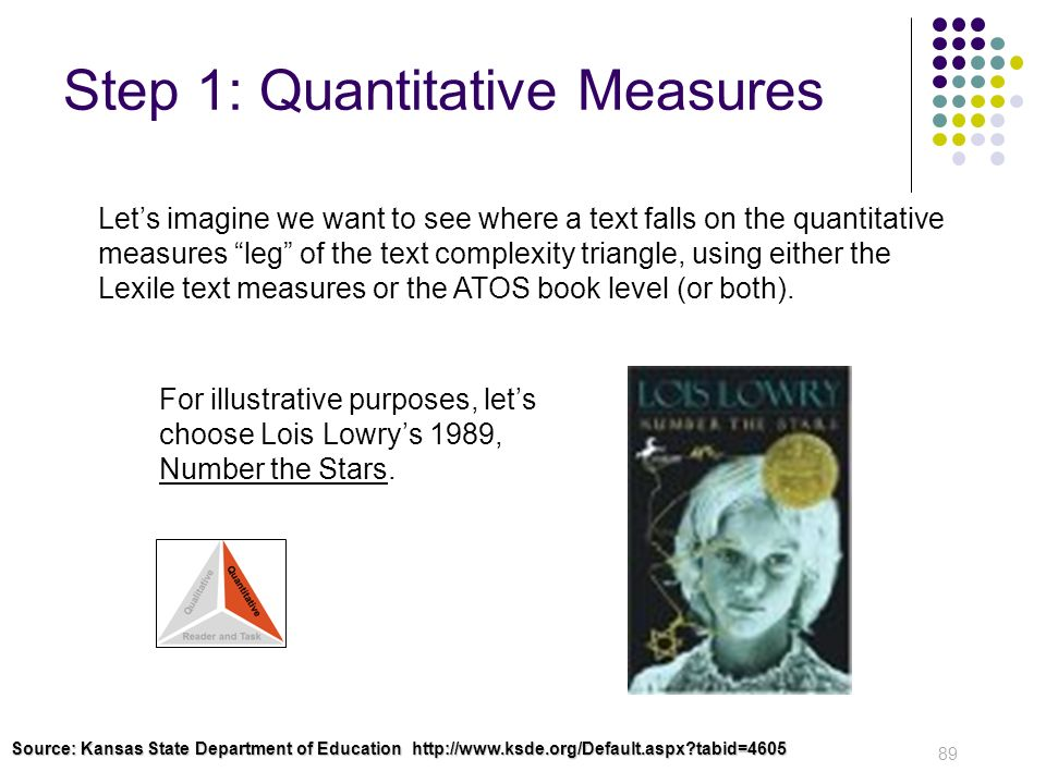 Step 1: Quantitative Measures 89 Lets imagine we want to see where a text falls on the quantitative measures leg of the text complexity triangle, usin
