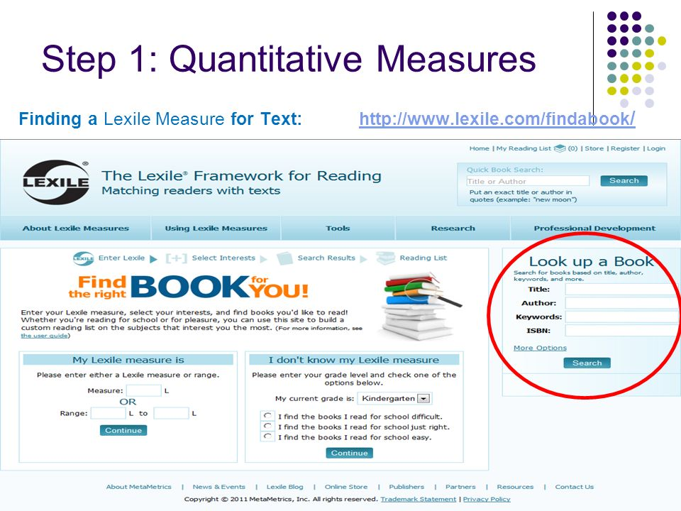 Finding a Lexile Measure for Text: http://www.lexile.com/findabook /http://www.lexile.com/findabook / Step 1: Quantitative Measures 90