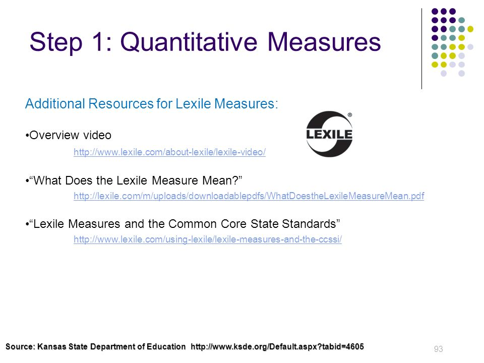 Step 1: Quantitative Measures 93 Additional Resources for Lexile Measures: Overview video http://www.lexile.com/about-lexile/lexile-video/ What Does t