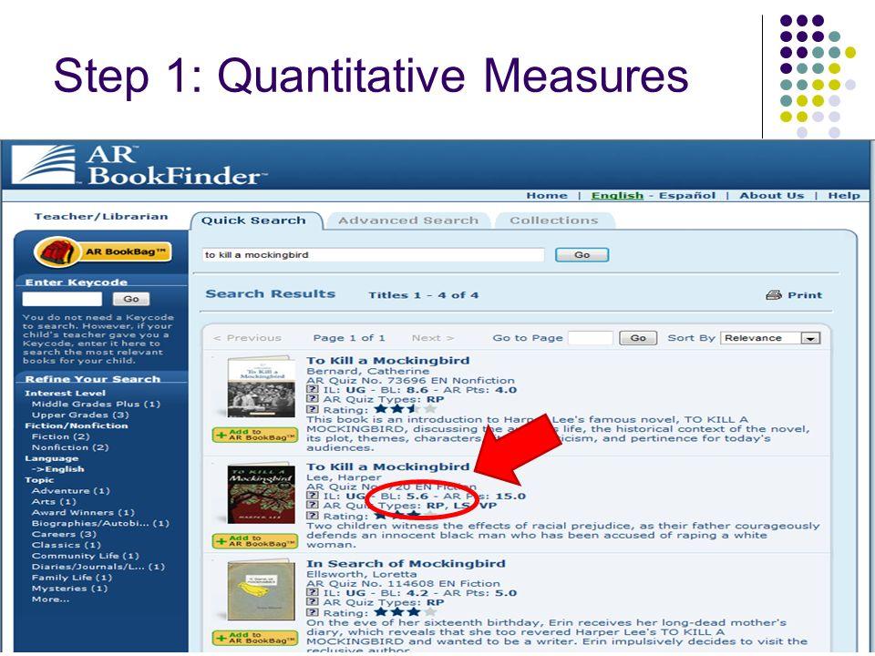 Step 1: Quantitative Measures 95
