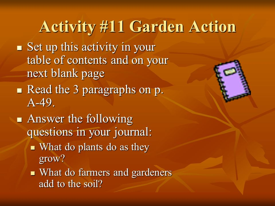 Activity #11 Garden Action Set up this activity in your table of contents and on your next blank page Set up this activity in your table of contents and on your next blank page Read the 3 paragraphs on p.