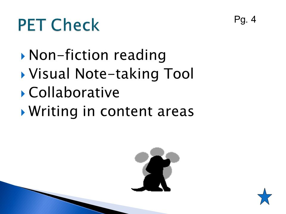 Non-fiction reading Visual Note-taking Tool Collaborative Writing in content areas Pg. 4