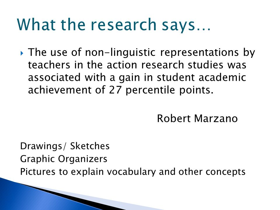 The use of non-linguistic representations by teachers in the action research studies was associated with a gain in student academic achievement of 27
