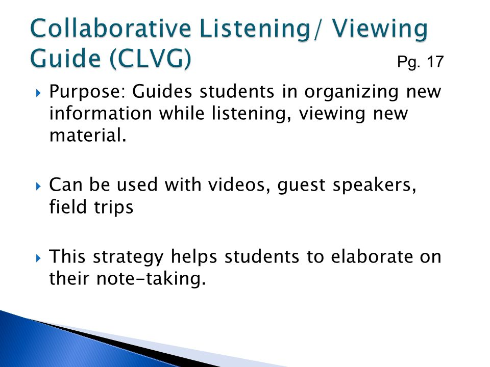 Purpose: Guides students in organizing new information while listening, viewing new material. Can be used with videos, guest speakers, field trips Thi