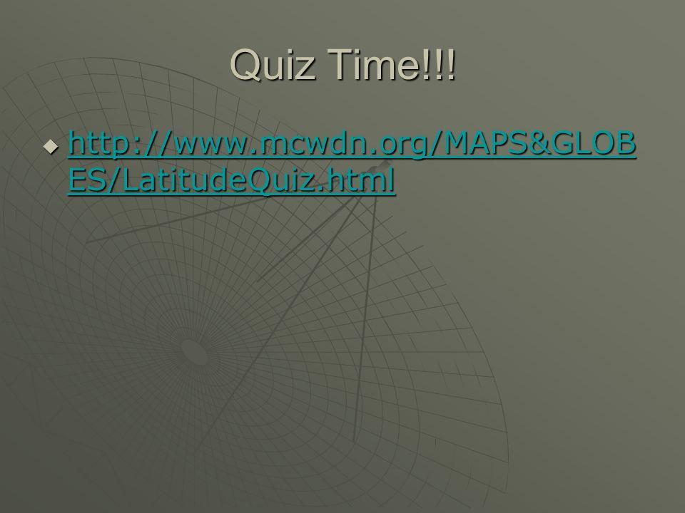 Quiz Time!!! http://www.mcwdn.org/MAPS&GLOB ES/LatitudeQuiz.html http://www.mcwdn.org/MAPS&GLOB ES/LatitudeQuiz.html http://www.mcwdn.org/MAPS&GLOB ES