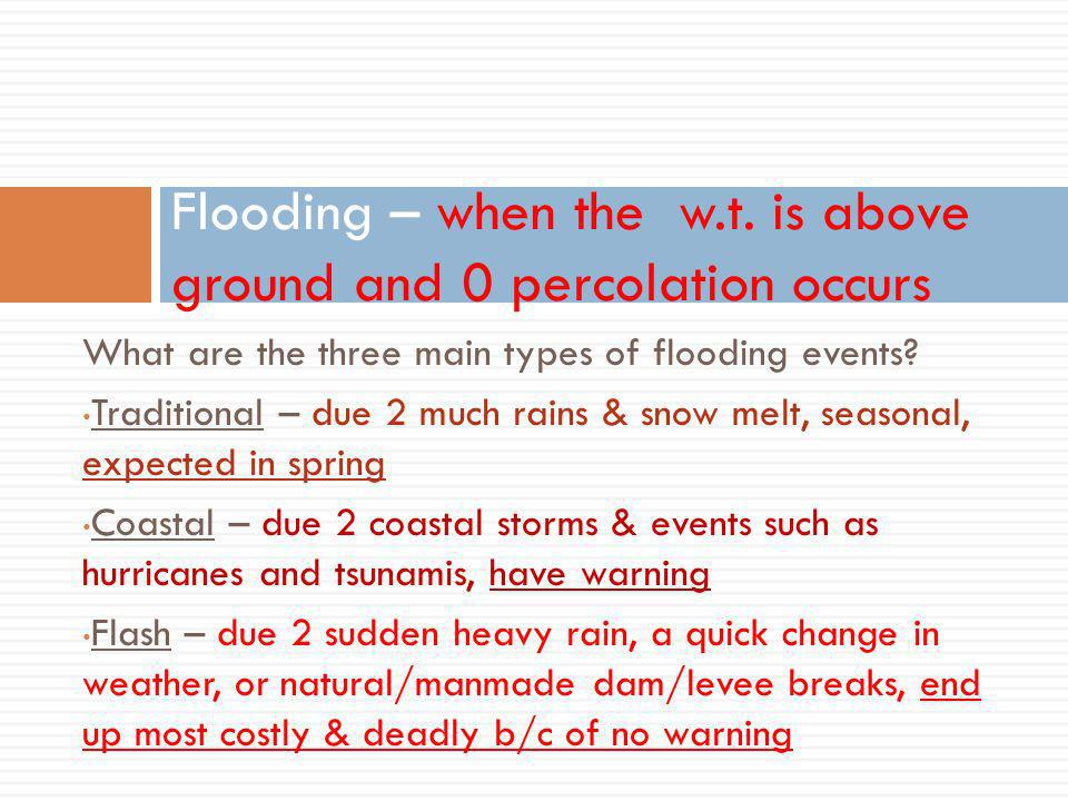 What are the three main types of flooding events.
