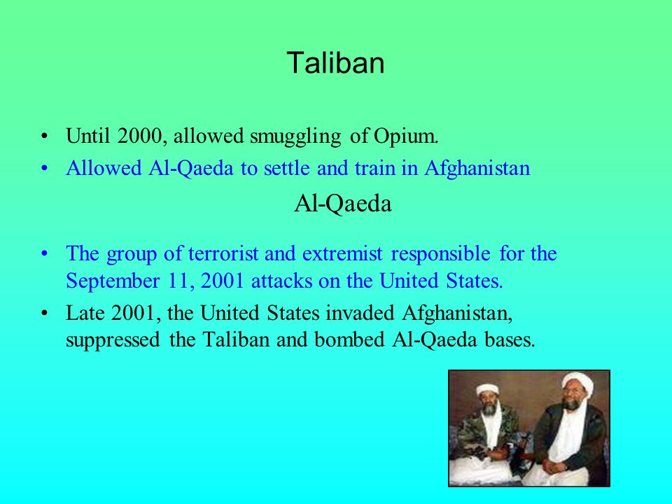 Taliban Until 2000, allowed smuggling of Opium.