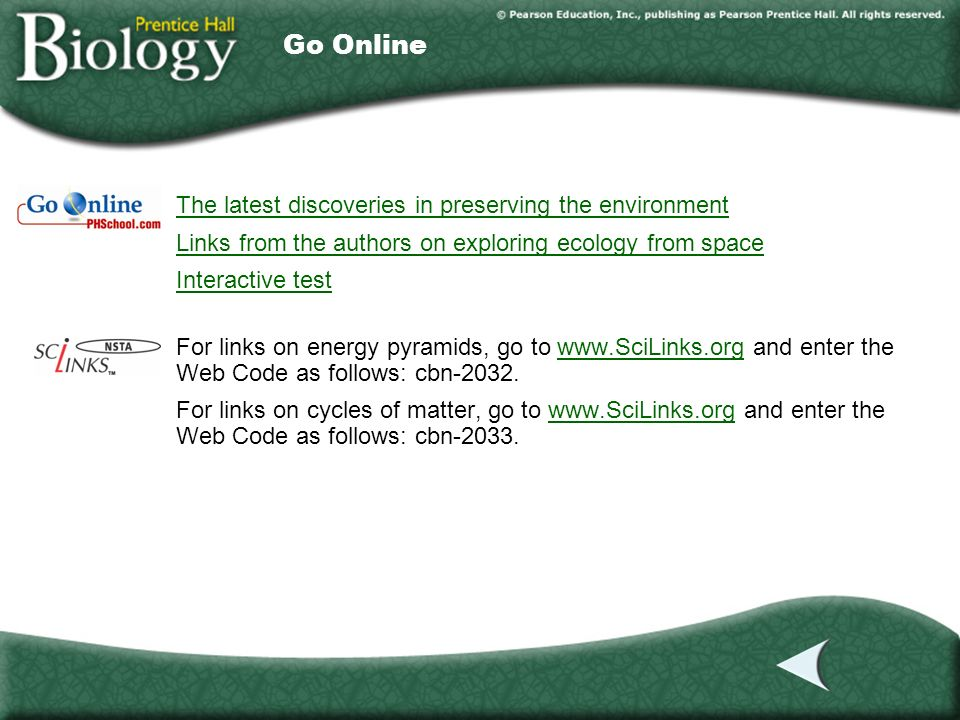 Internet The latest discoveries in preserving the environment Links from the authors on exploring ecology from space Interactive test For links on ene