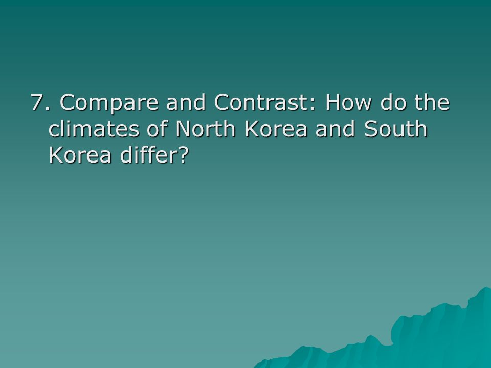 7. Compare and Contrast: How do the climates of North Korea and South Korea differ