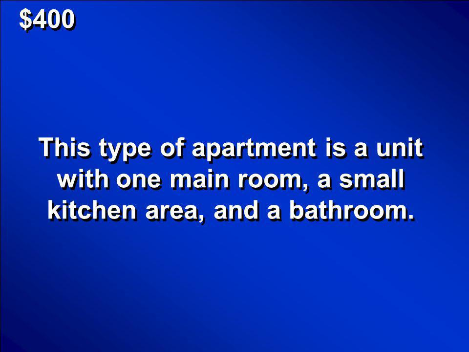 © Mark E. Damon - All Rights Reserved $400 Efficiency Apartment Scores