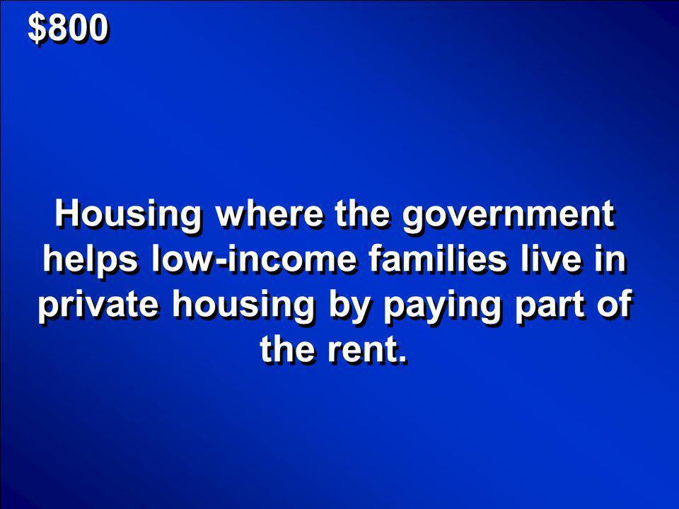 © Mark E. Damon - All Rights Reserved $800 Subsidized Housing Scores