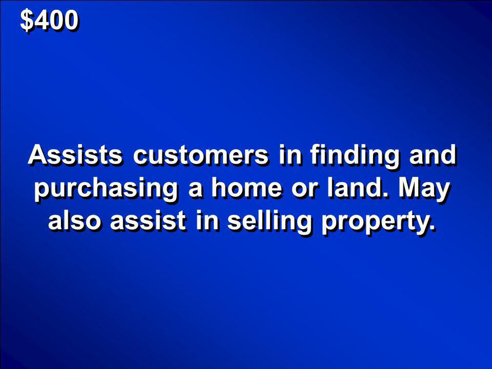 © Mark E. Damon - All Rights Reserved $400 Real Estate Agent Scores