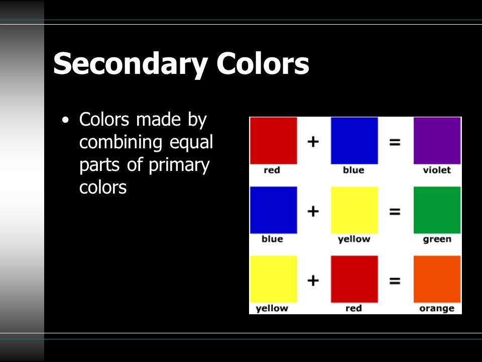 Complementary Colors 2 colors directly opposite each other on the color wheel