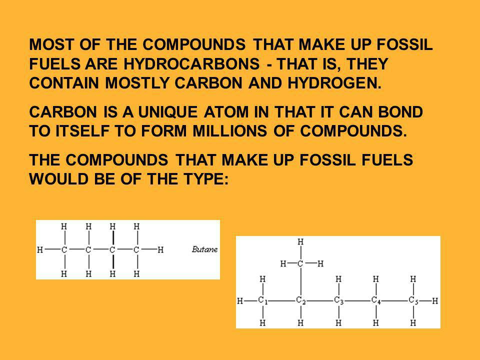 MOST OF THE COMPOUNDS THAT MAKE UP FOSSIL FUELS ARE HYDROCARBONS - THAT IS, THEY CONTAIN MOSTLY CARBON AND HYDROGEN.