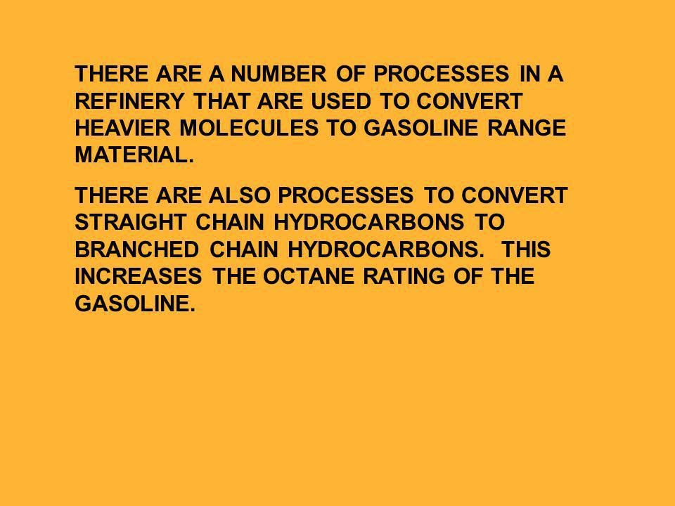 THERE ARE A NUMBER OF PROCESSES IN A REFINERY THAT ARE USED TO CONVERT HEAVIER MOLECULES TO GASOLINE RANGE MATERIAL.
