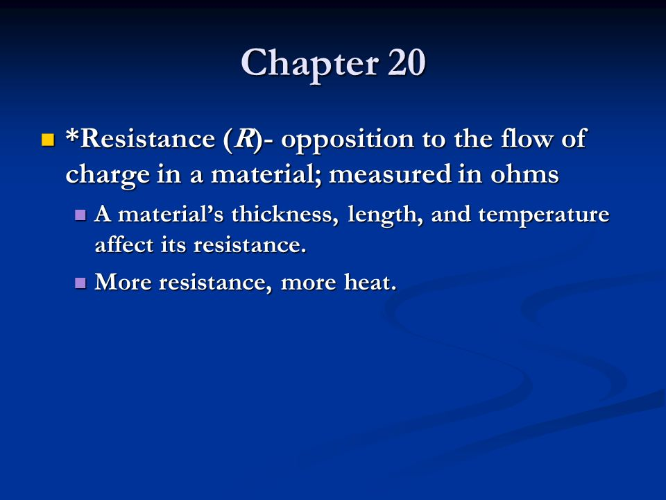 Chapter 20 In order for charge to flow in a conducting wire, the wire must be connected in a complete loop that includes a source of electrical energy.