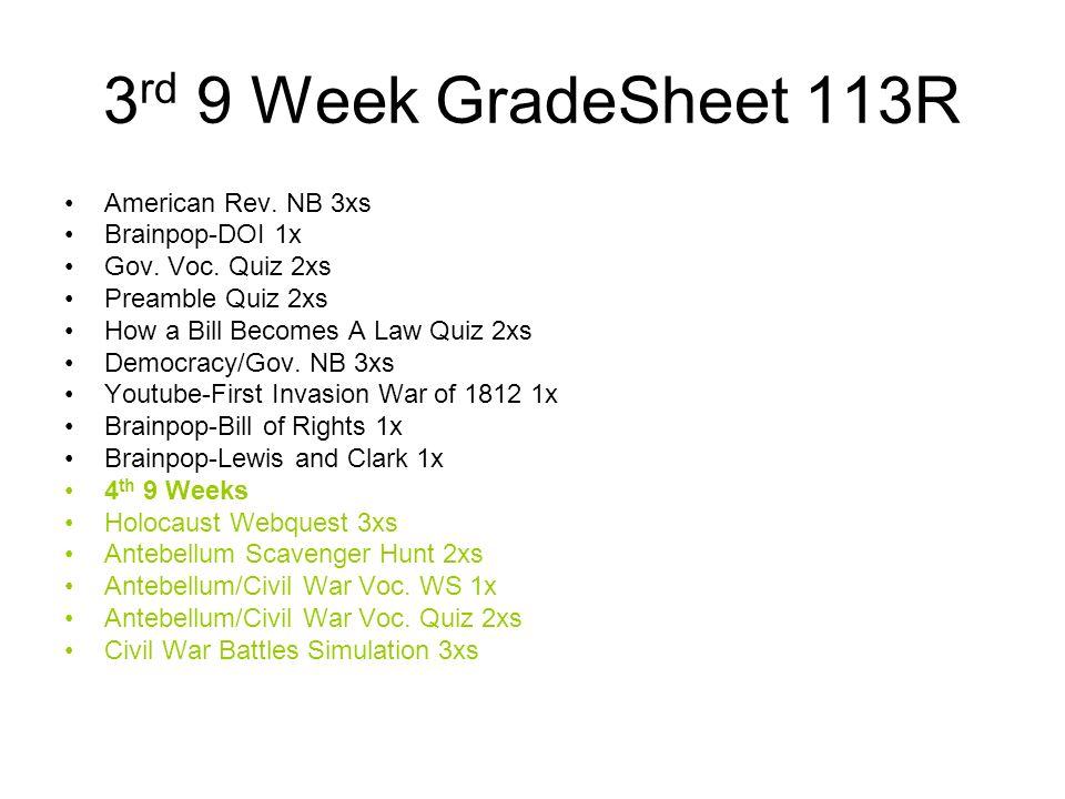 3 rd 9 Week GradeSheet 113R American Rev. NB 3xs Brainpop-DOI 1x Gov. Voc. Quiz 2xs Preamble Quiz 2xs How a Bill Becomes A Law Quiz 2xs Democracy/Gov.