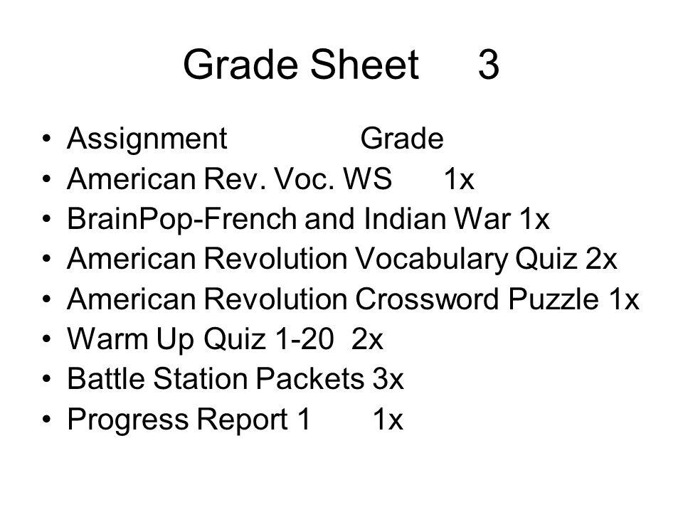 Grade Sheet 3 Assignment Grade American Rev. Voc. WS 1x BrainPop-French and Indian War 1x American Revolution Vocabulary Quiz 2x American Revolution C