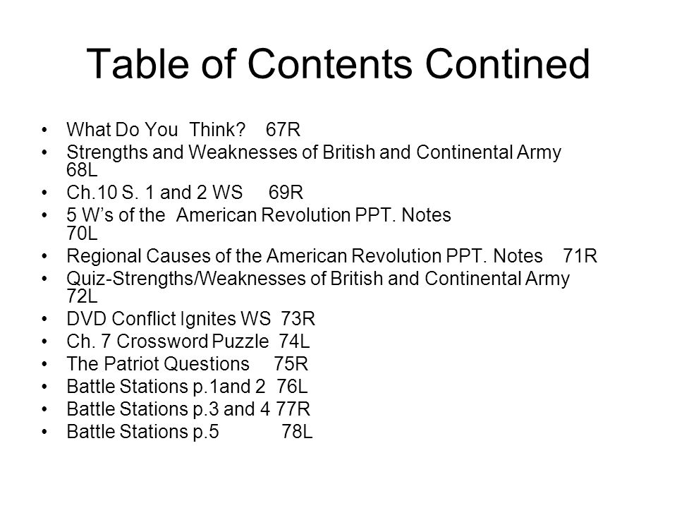 Table of Contents Contined What Do You Think? 67R Strengths and Weaknesses of British and Continental Army 68L Ch.10 S. 1 and 2 WS 69R 5 Ws of the Ame