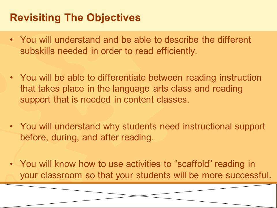 Revisiting The Objectives You will understand and be able to describe the different subskills needed in order to read efficiently. You will be able to