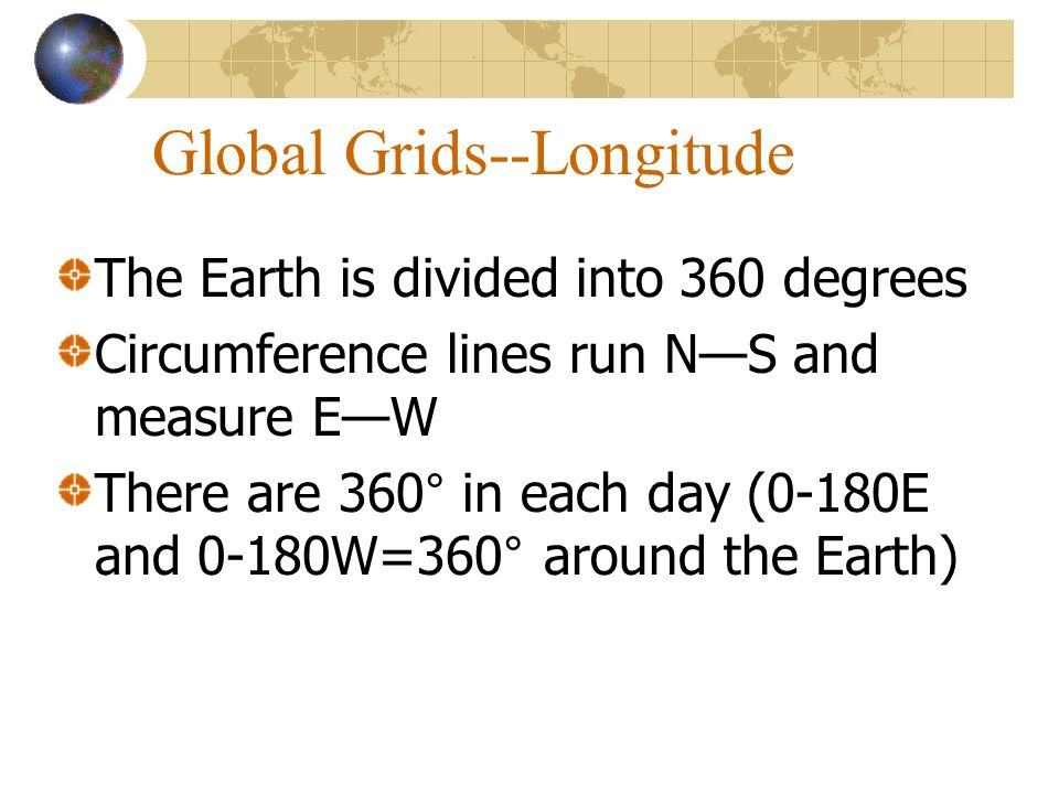 Global Grids--Longitude The Earth is divided into 360 degrees Circumference lines run NS and measure EW There are 360° in each day (0-180E and 0-180W=