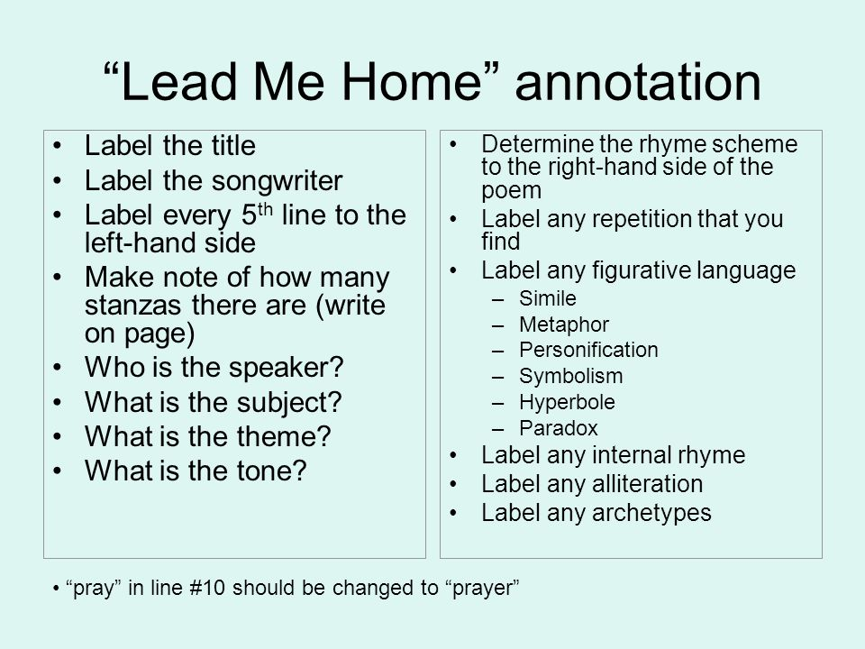 Lead Me Home annotation Label the title Label the songwriter Label every 5 th line to the left-hand side Make note of how many stanzas there are (writ