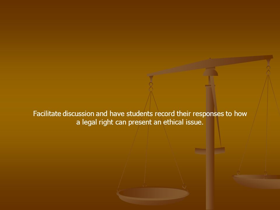 Facilitate discussion and have students record their responses to how a legal right can present an ethical issue.