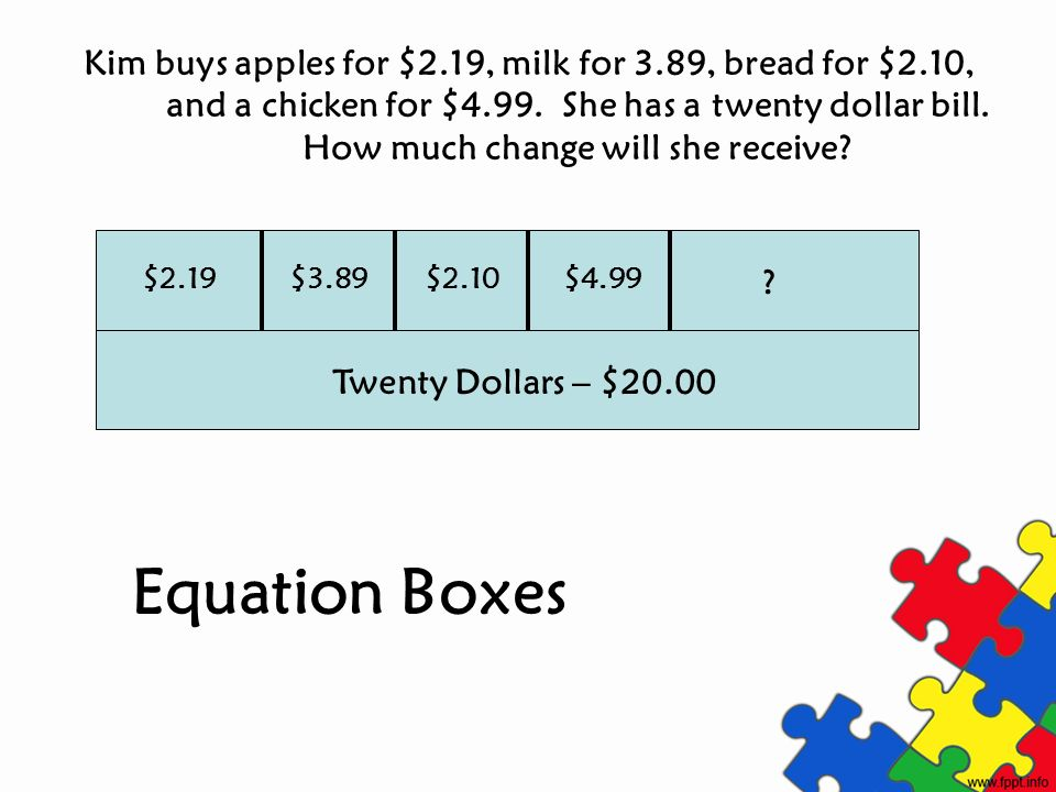Kim buys apples for $2.19, milk for 3.89, bread for $2.10, and a chicken for $4.99. She has a twenty dollar bill. How much change will she receive? Tw