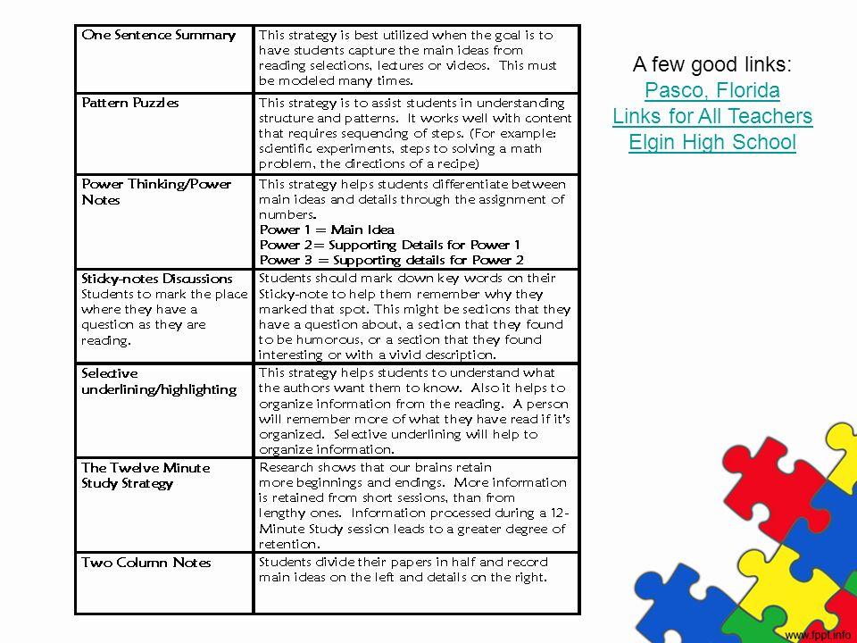 A few good links: Pasco, Florida Links for All Teachers Elgin High School