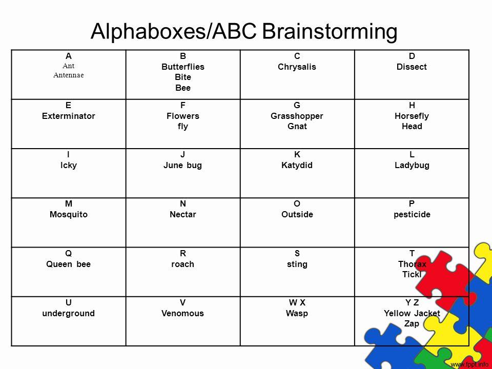 Alphaboxes/ABC Brainstorming A Ant Antennae B Butterflies Bite Bee C Chrysalis D Dissect E Exterminator F Flowers fly G Grasshopper Gnat H Horsefly He