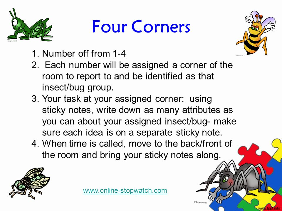 Four Corners 1.Number off from 1-4 2. Each number will be assigned a corner of the room to report to and be identified as that insect/bug group. 3.You