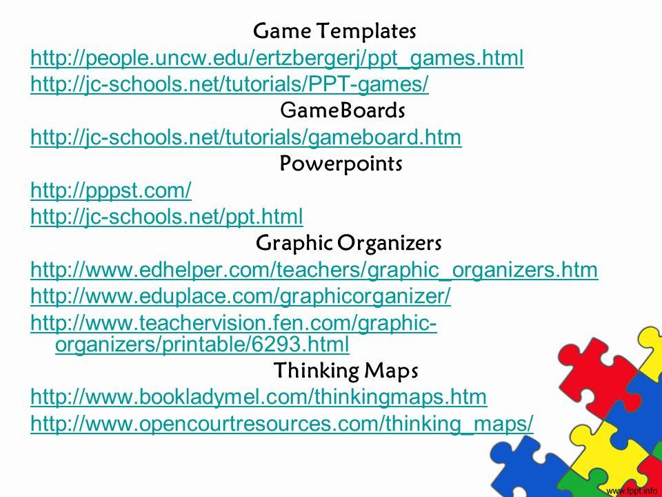 Game Templates http://people.uncw.edu/ertzbergerj/ppt_games.html http://jc-schools.net/tutorials/PPT-games/ G ameBoards http://jc-schools.net/tutorial