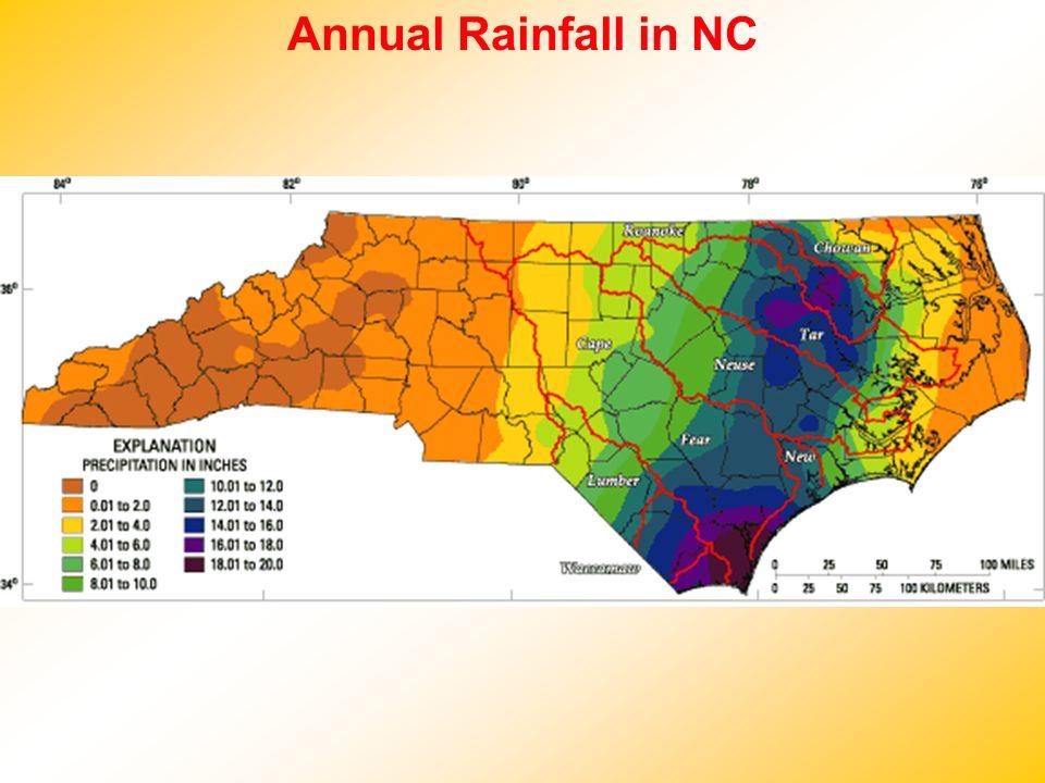 Annual Rainfall in NC