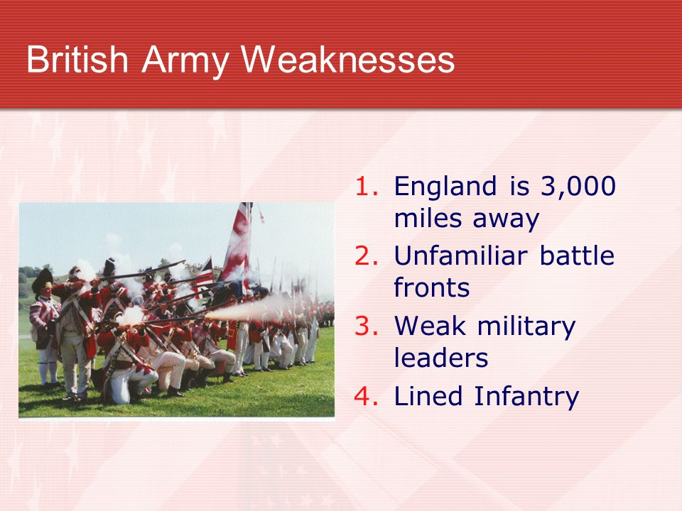 British Army Weaknesses 1. England is 3,000 miles away 2. Unfamiliar battle fronts 3. Weak military leaders 4. Lined Infantry