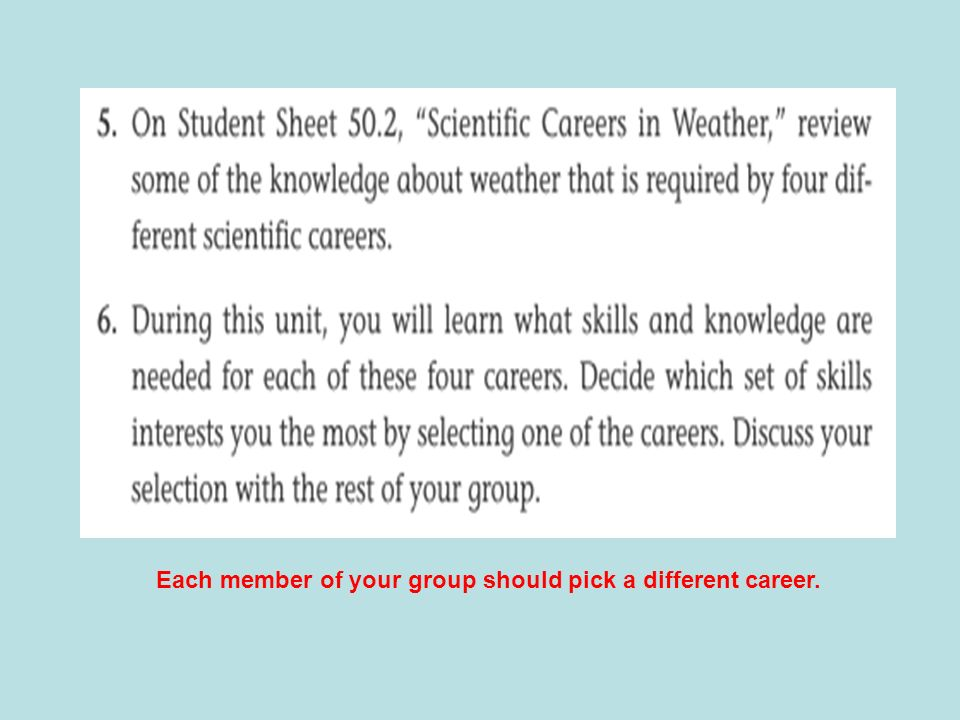 Each member of your group should pick a different career.