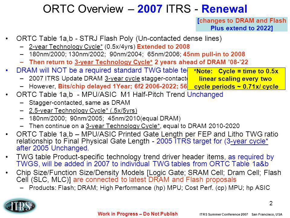 Work in Progress – Do Not Publish ITRS Summer Conference 2007 San Francisco, USA 2 ORTC Overview – 2007 ITRS - Renewal ORTC Table 1a,b - STRJ Flash Po