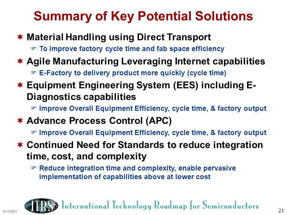 9/11/2001 21 Summary of Key Potential Solutions Material Handling using Direct Transport To improve factory cycle time and fab space efficiency Agile