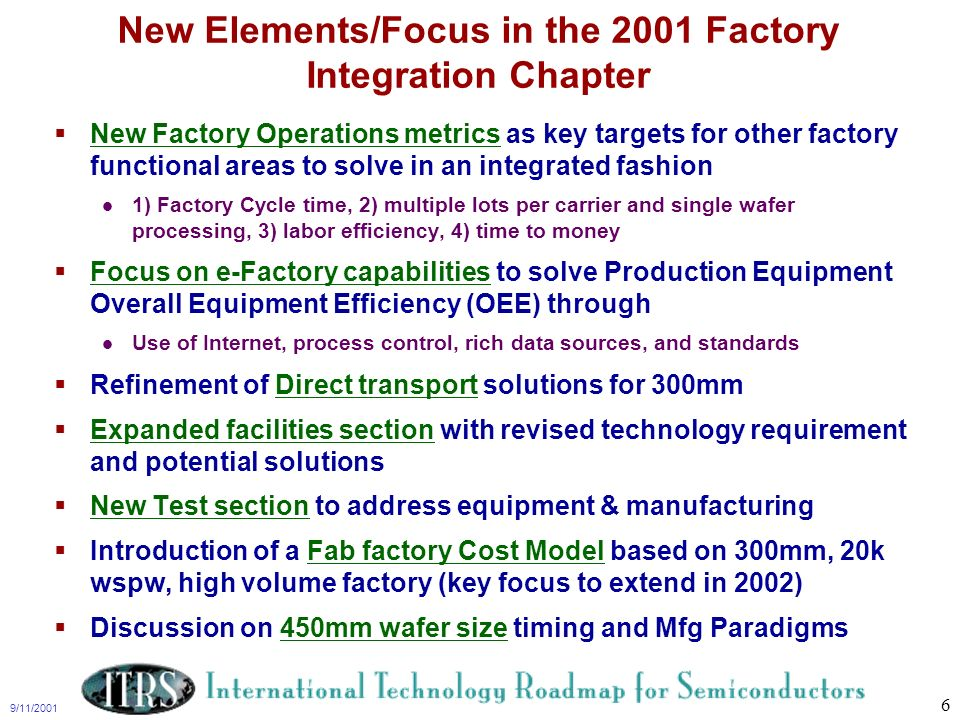 9/11/2001 6 New Elements/Focus in the 2001 Factory Integration Chapter New Factory Operations metrics as key targets for other factory functional area