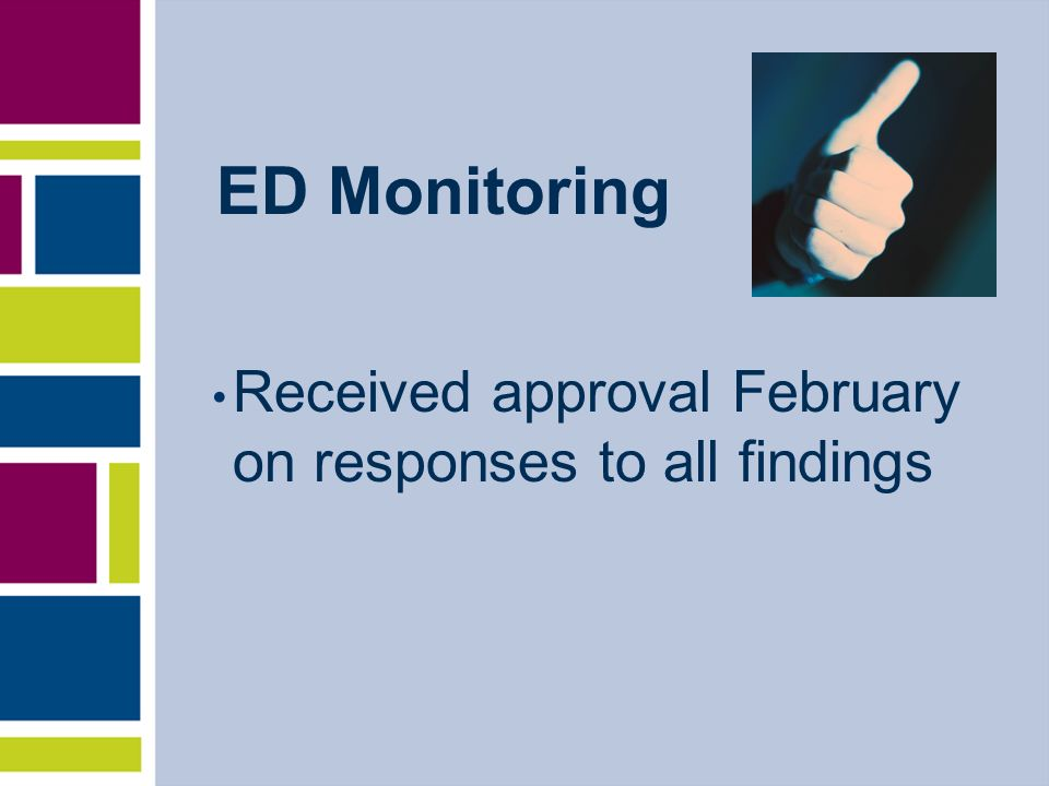 ED Monitoring Received approval February on responses to all findings