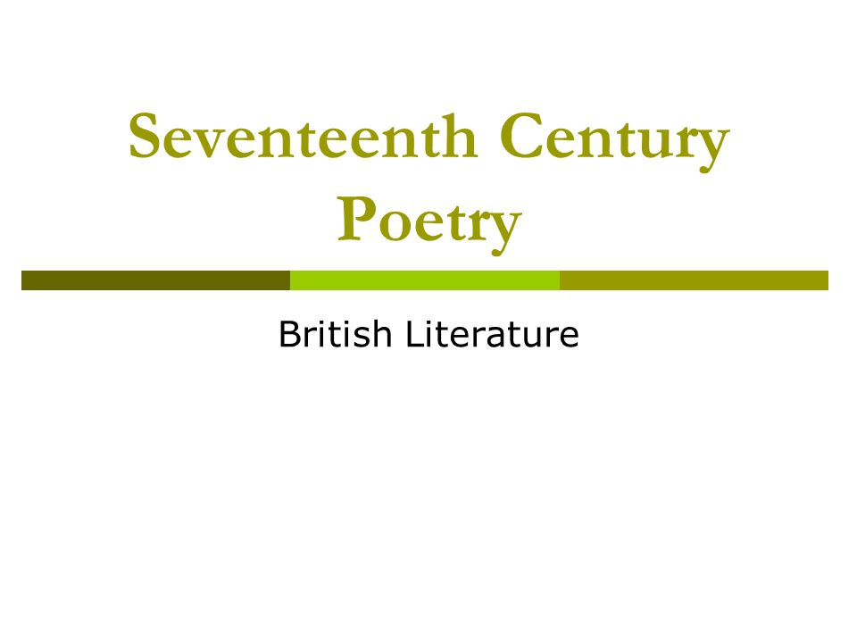 Seventeenth Century Poetry British Literature