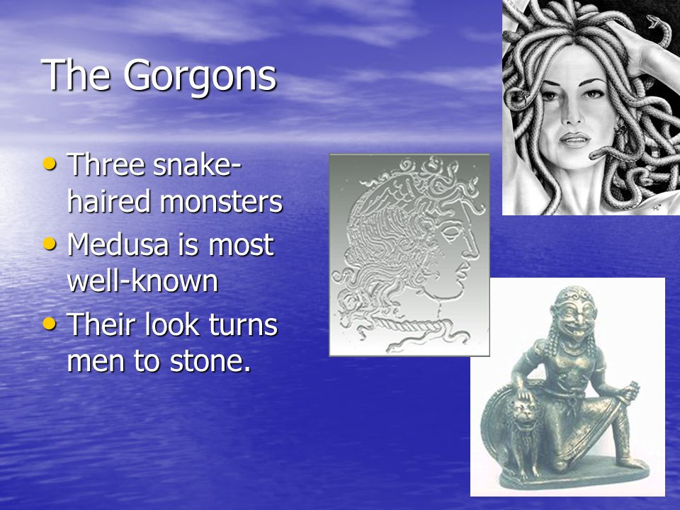 The Gorgons Three snake- haired monsters Three snake- haired monsters Medusa is most well-known Medusa is most well-known Their look turns men to stone.